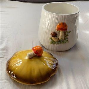 Vintage Kitchen - Merry Mushroom vintage 70s canister kitsch Medium
